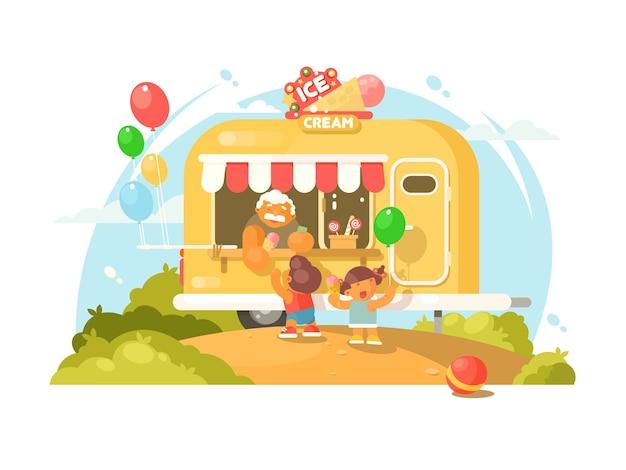 Ijs bestelwagen. gelukkige kinderen kopen zoet ijs. illustratie