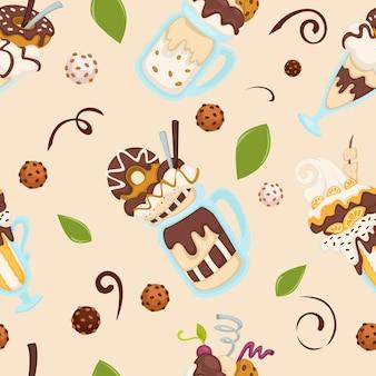 Ijs dessert geserveerd met donut en chocolade topping, bladeren en koekjes. menu van gelateria, restaurant of café, diner of winkel. naadloze patroon, achtergrond of print, vector in vlakke stijl