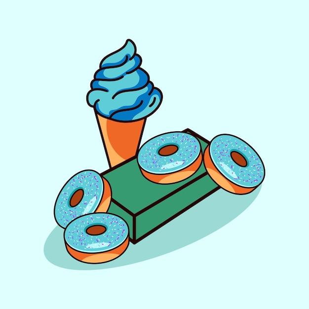 Ijs donuts pictogram moderne stijl