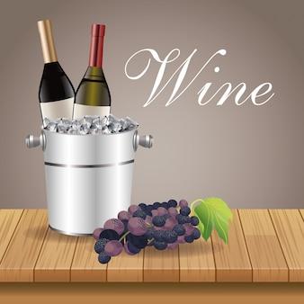 Ijs emmer fles druiven houten tafel