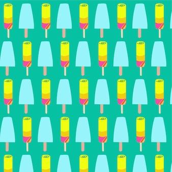 Ijs en ijslollys naadloze patroon achtergrond
