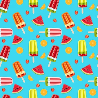 Ijs en tropisch fruit naadloos patroon. lichte zomer naadloze patroon. fruitijs en vruchtenillustratie.