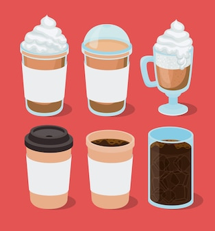 Ijs en warme koffiemokken decorontwerp van drank cafeïne ontbijt en drank thema.
