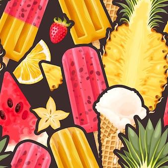 Ijs naadloze patroon kleurrijke zomer achtergrond heerlijke zoete lekkernijen vectorillustratie