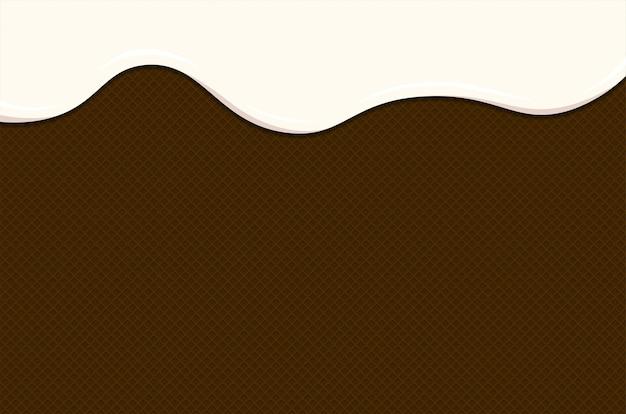 Ijs of yoghurt smelten op chocoladewafel. witte romige of melkvloeistofdruppels stromen op geroosterde knapperige koekjes. geglazuurde wafel zoete cake textuur. vector achtergrond sjabloon voor spandoek of poster