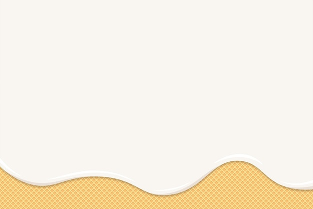 Ijs of yoghurt smelten op wafel. witte romige of melkvloeistofdruppels stromen op geroosterde knapperige koekjes. geglazuurde wafel zoete cake textuur. lege achtergrond sjabloon voor spandoek of poster eps illustratie