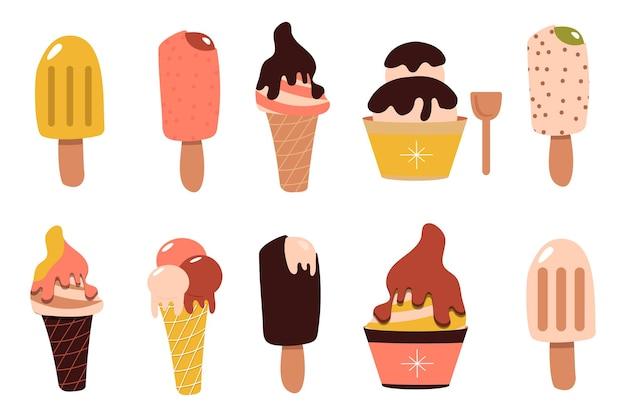 Ijs setje. sundae in chocolade op een stokje. roomijskegel in een wafel. bevroren dessert. zoet eten. vectorillustratie platte cartoon. zomer desserts collectie.