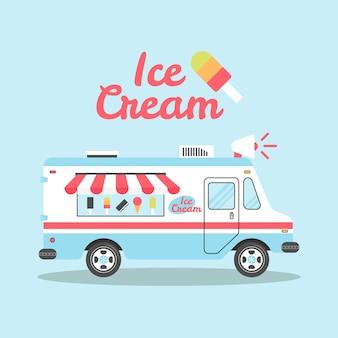 Ijs vrachtwagen plat kleurrijke illustratie
