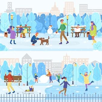 Ijsbaan en winter park, mensen schaatsen, buitenshuis
