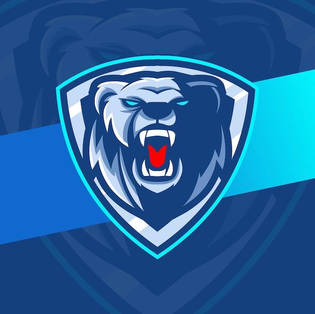 Ijsbeer mascotte illustratie voor esport-ontwerp