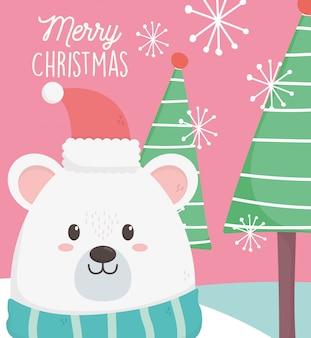 Ijsbeer met illustratie van hoed, sjaal en bomen de vrolijke kerstmis