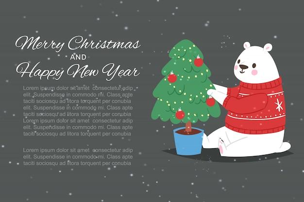Ijsbeer met vrolijke kerstmis en gelukkige nieuwe jaarinschrijving, illustratie.