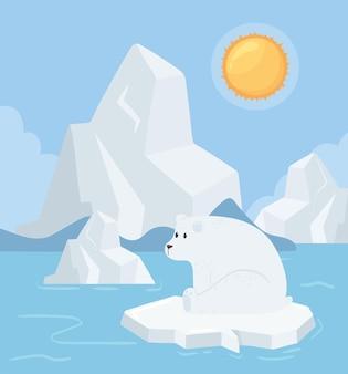 Ijsbeer opwarming van de aarde illustratie