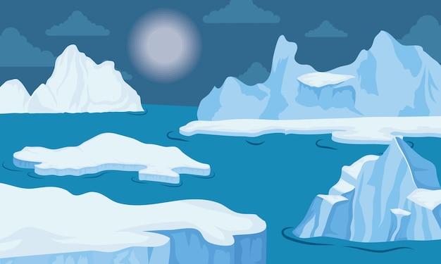 Ijsberg blok arctisch landschap van de nachtscène