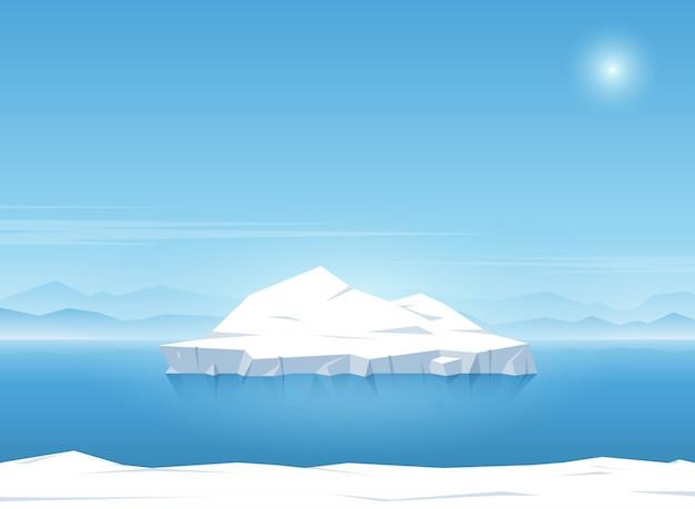Ijsberg die in blauwe oceaan drijft. zomer achtergrond. vector illustratie.