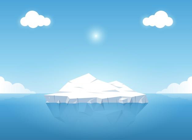 Ijsberg in blauwe oceaan op de zomer. vector illustratie.