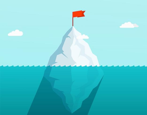 Ijsberg in oceaan die in overzeese golven met rode vlag op bovenkant drijft. bedrijfsconcept.