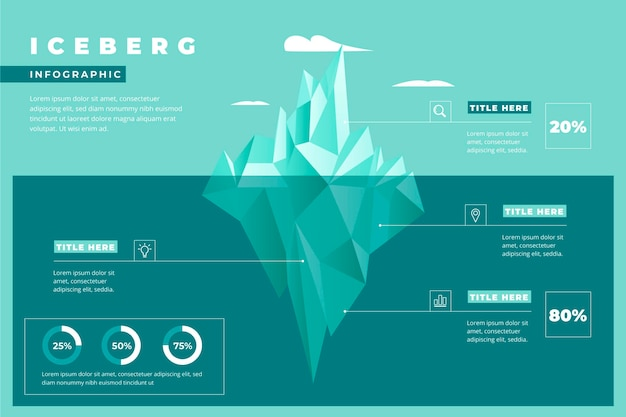 Ijsberg infographic sjabloon