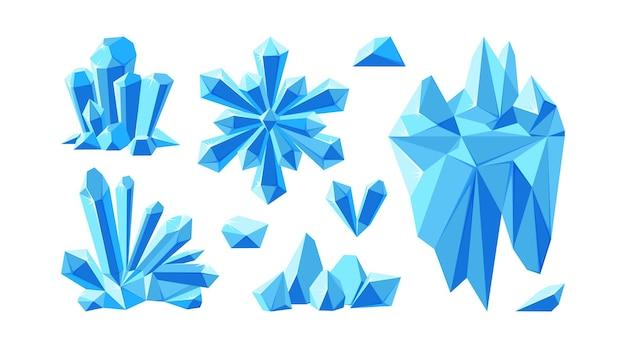 Ijsberg met kristallen en sneeuwvlok voor arctische landschappen set kristallen edelstenen en stenen voor games