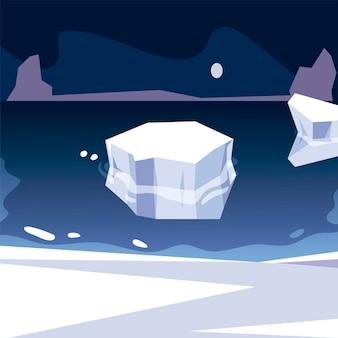 Ijsberg noordpool smeltende zee nachtscène