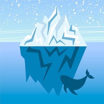 Ijsberg platte ontwerp illustratie met walvis