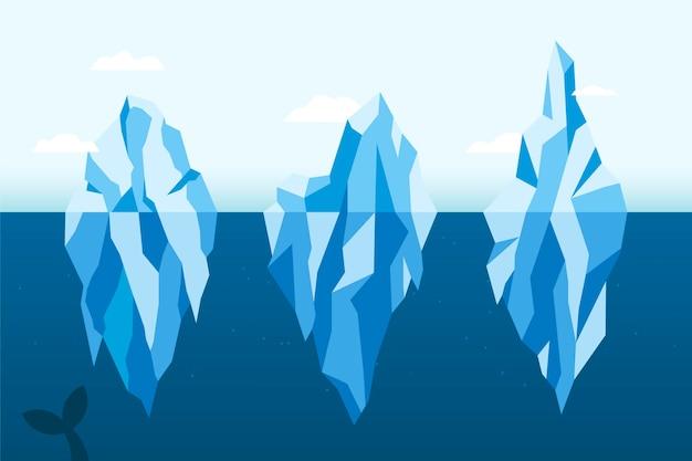 Ijsberg platte ontwerp illustratie pack