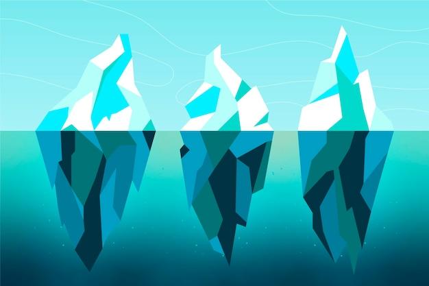 Ijsberg platte ontwerp illustratie set