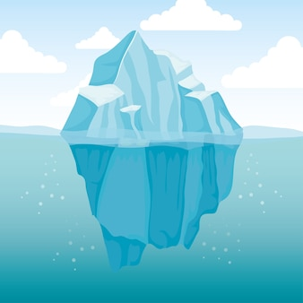 Ijsbergblok arctisch scènelandschap