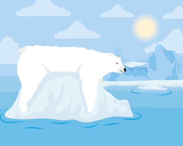 Ijsbergblok arctische scène met ijsbeer