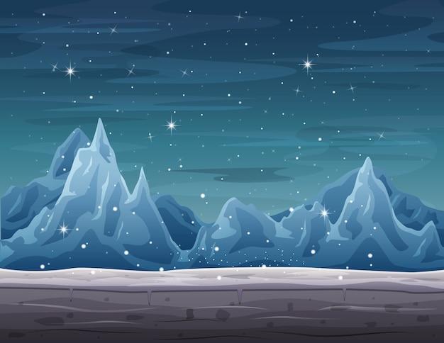 Ijsberglandschap op wintertijd met sneeuwval
