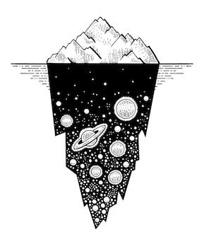 Ijsbergschets-tatoeage met universumruimte in verborgen ijs