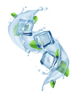 Ijsblok water splash