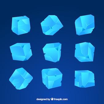 Ijsblokjescollectie met 2d-ontwerp