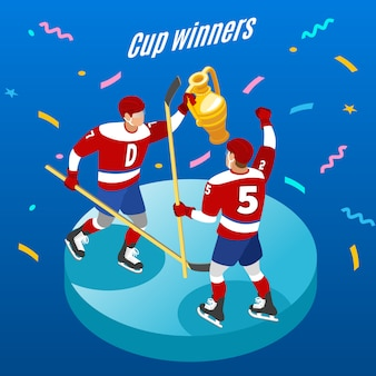 Ijshockey cup winnaars viering isometrische ronde samenstelling met twee spelers met feestelijke trofee