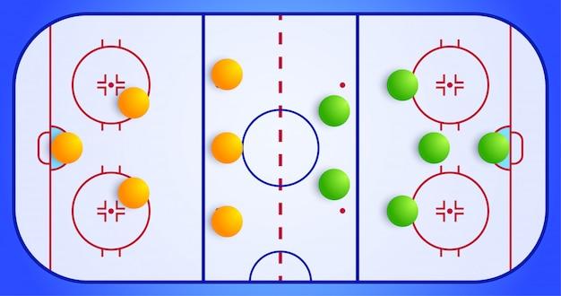 Ijshockey sportveld met een tactisch schema van de opstelling van spelers van twee teams op de speelplaats, plan van een spelschema voor een fantasy league coachbord