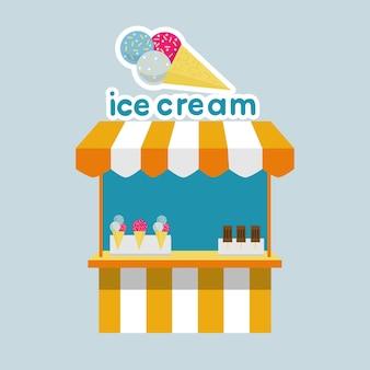 Ijskraamkiosk met ijs voor een circusbioscoop in een pretpark platte vector