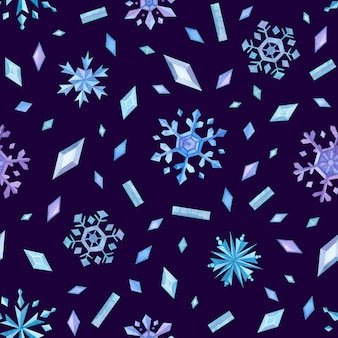 Ijskristallen en sneeuwvlokken winter naadloos patroon ijsvlokken en edelstenen