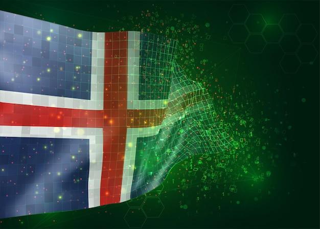 Ijsland, op vector 3d-vlag op groene achtergrond met veelhoeken en gegevensnummers