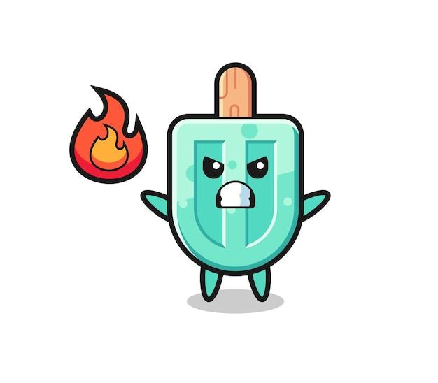 Ijslolly karakter cartoon met boos gebaar, schattig ontwerp