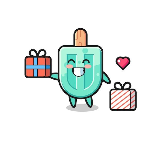 Ijslolly mascotte cartoon die het geschenk geeft, schattig ontwerp