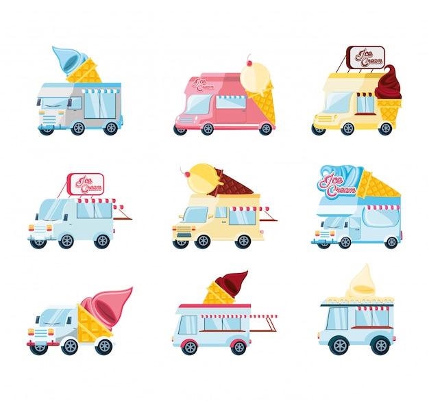 Ijssalon set bestelwagens