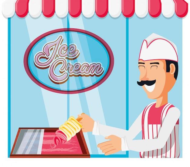 Ijsverkoper met karakter van de smakenautomaat