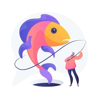 Ijsvissen abstract concept illustratie. winteractiviteiten in de buitenlucht, gereedschap voor ijsvissen, online winkel voor uitrusting, advies voor vissers, vangen, bevroren meer, reizen en hobby