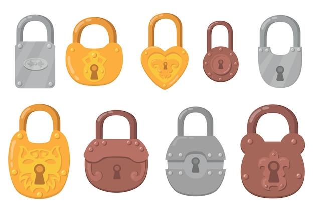 Ijzeren hangsloten platte pictogramserie. cartoon sleutelsloten voor veiligheid en bescherming geïsoleerde vector illustratie collectie. beveiligde mechanismen en coderingsconcept