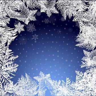 Ijzige kerst achtergrond. sneeuw en ijspegels