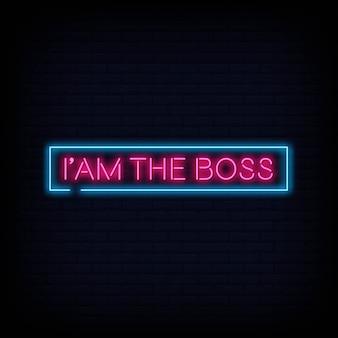 Ik ben de boss neon sign-tekstvector