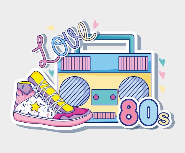 Ik ben dol op de jaren 80 cartoons radio en schoen
