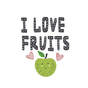 Ik ben dol op fruitbelettering in scandinavische stijl. vector belettering inscriptie met appel. fruitprint voor t-shirt