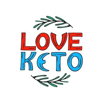 Ik ben dol op keto-handgetekende doodle-tekst met rozemarijntakjes. gezond eetconcept.