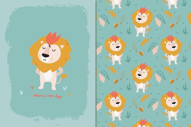 Ik ben leeuwenkoning naadloos patroon